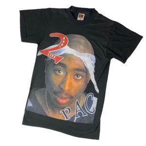 BL 2Pac Tupac Hip Hop Rap Tee Black Double Sided